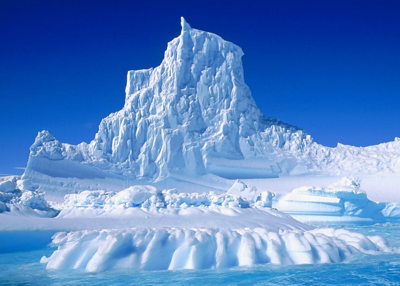 Antarctic image with blue sky