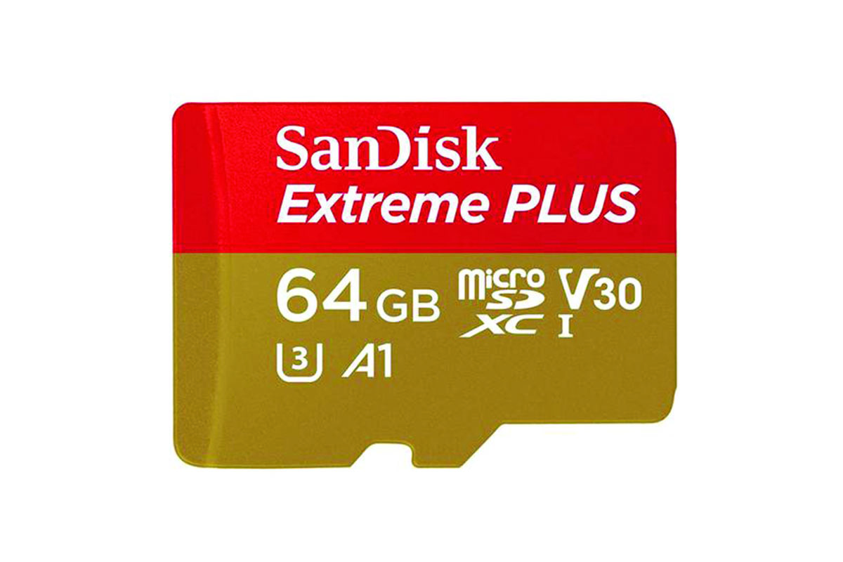 SanDisk 64GB Extreme Plus Micro SD Card (SDXC) UHS-I A1 + Adapter - 100MB/s