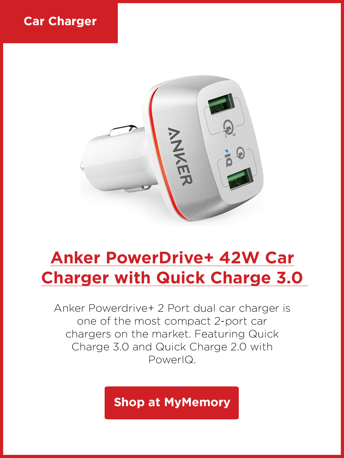 Anker PowerDrive+ 2 Ports 42W Dual USB Car Charger with Quick Charge 3.0 - White
