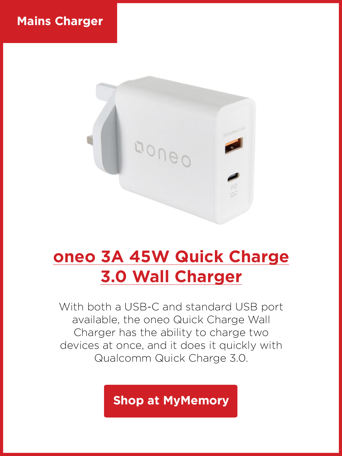 oneo 3A 45W Quick Charge 3.0 Wall Charger - White