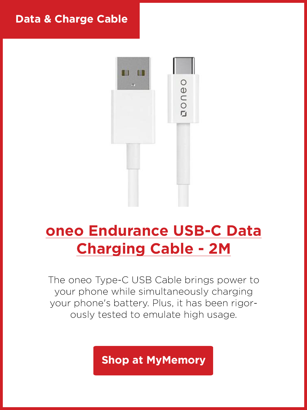 oneo Endurance USB-C Data Charging Cable - 2M