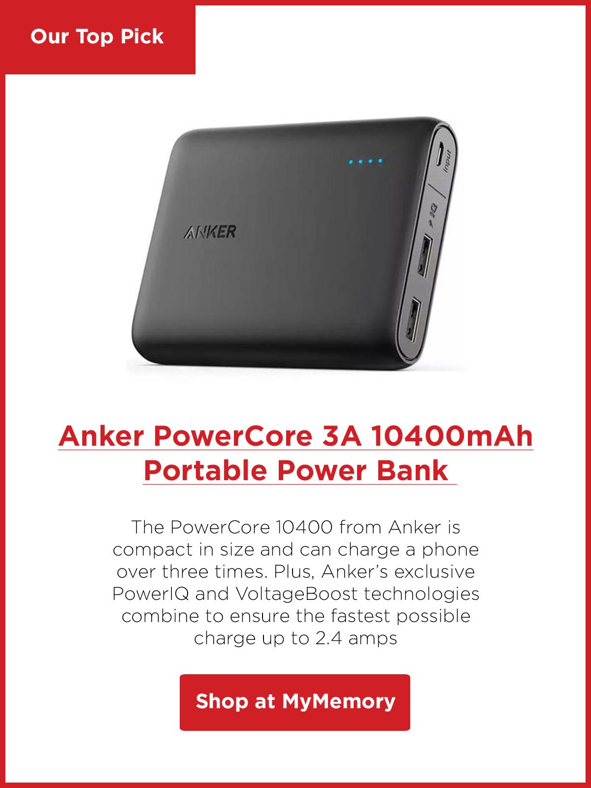 Anker PowerCore 3A 10400mAh Portable Power Bank with PowerIQ - Black