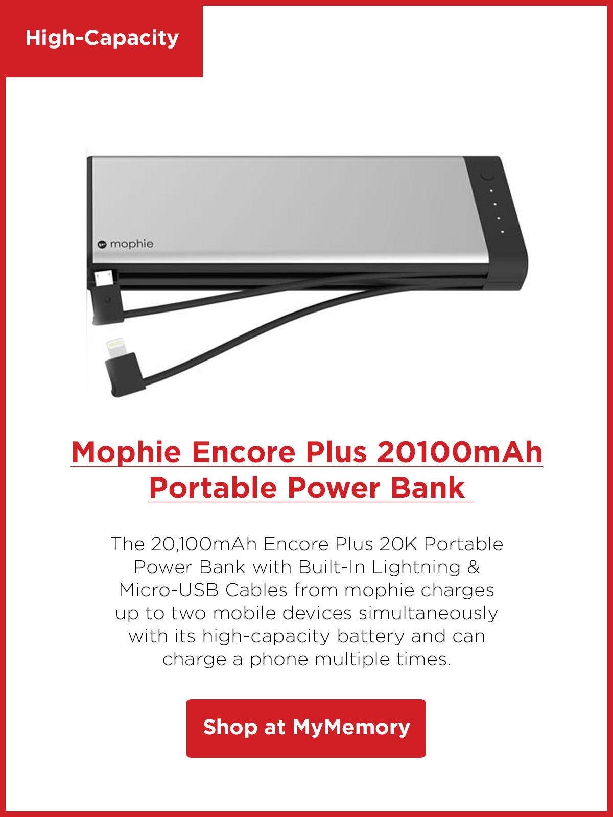 Mophie Encore Plus 20100mAh Portable Power Bank Built-In Lightning & Micro-USB Cables