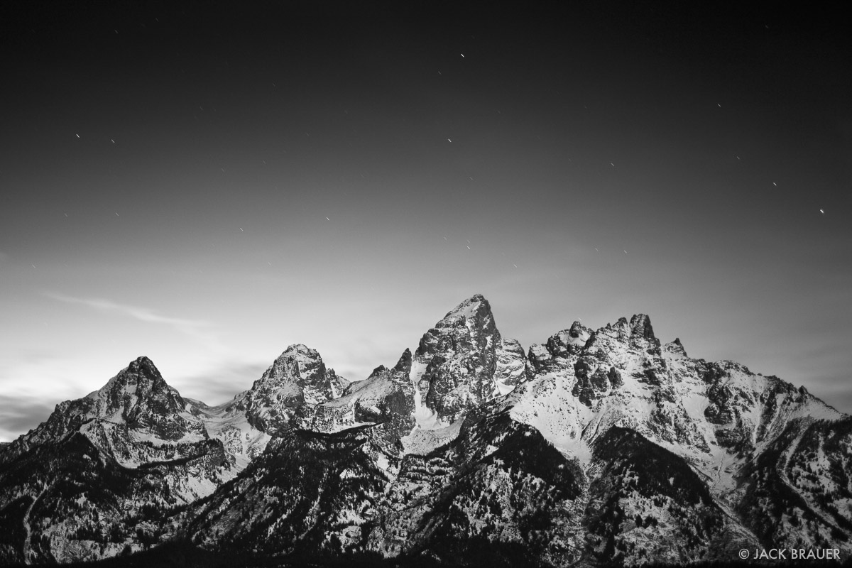 Mountains in Black & White | Mountain Photography by Jack Brauer - Teton Moonlight