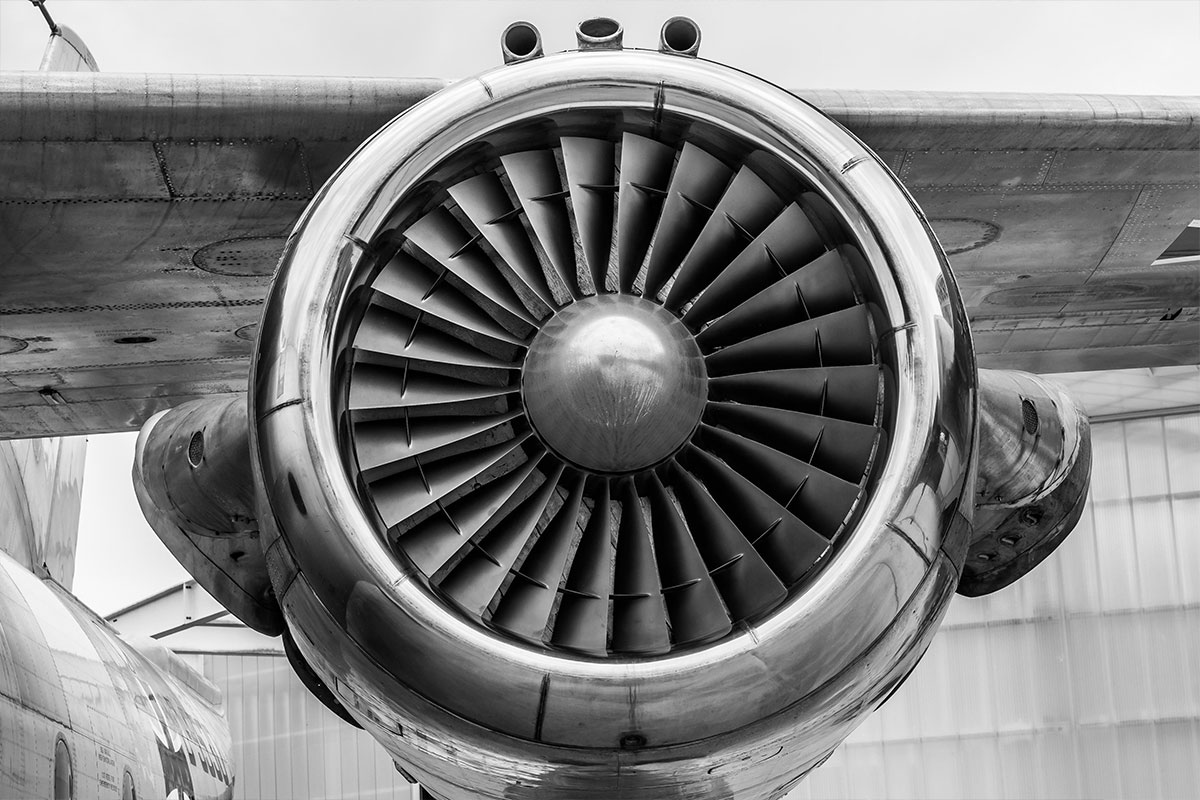 Black and White Turbo Fan Airplane Engine