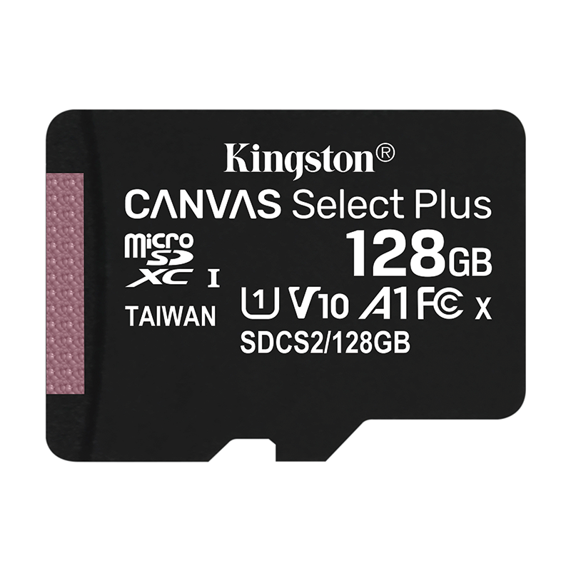 Kingston 128GB Canvas Select Plus micro SD Card (SDXC) + SD Adapter - 100MB/s