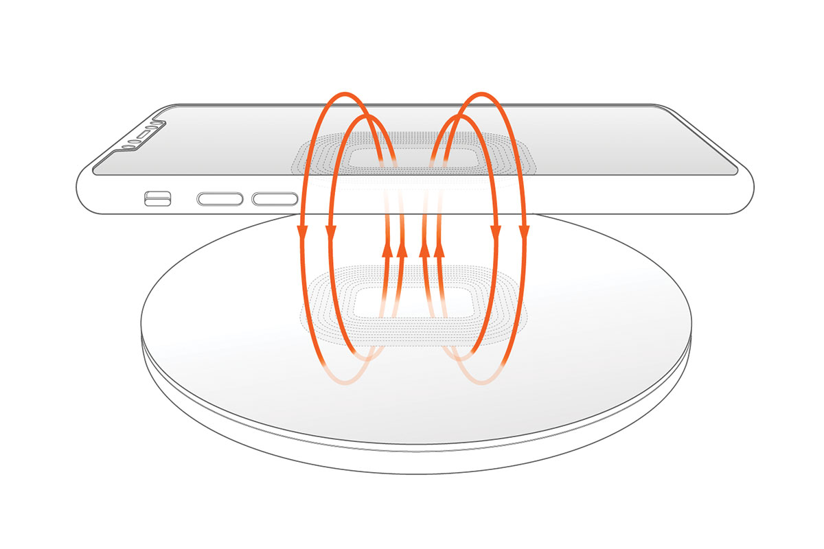 Wireless Charging - Induction coil generating an electromagnetic field.
