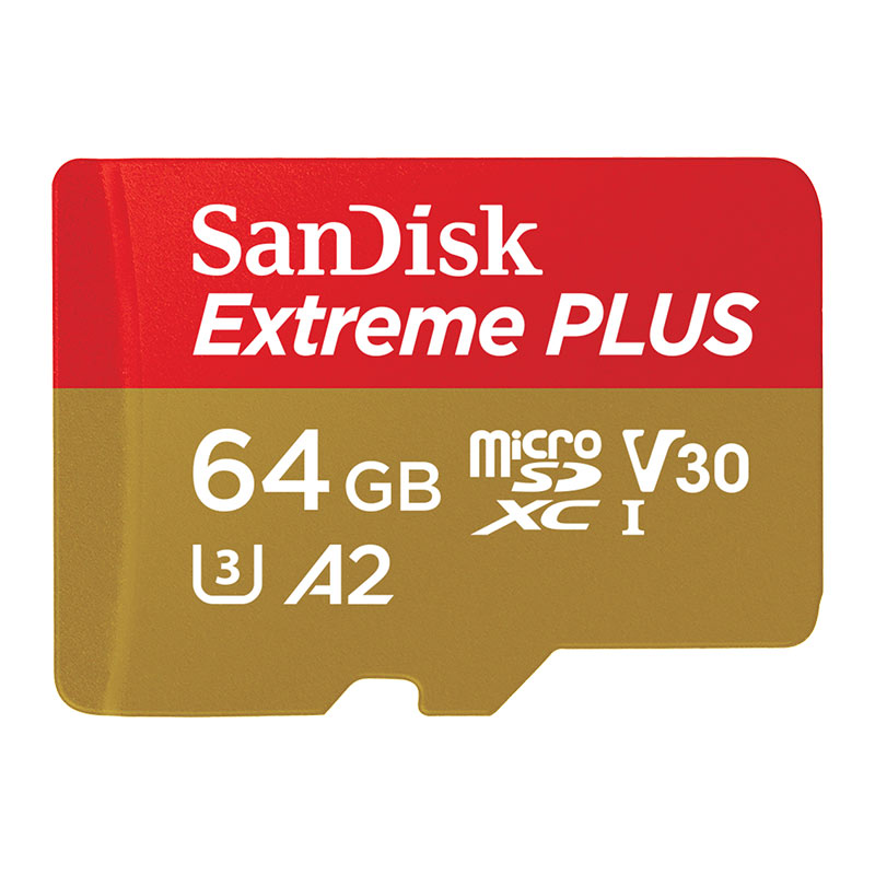 SanDisk 64GB Extreme Plus A2 Micro SD Card (SDXC) UHS-I U3 + Adapter - 170MB/s