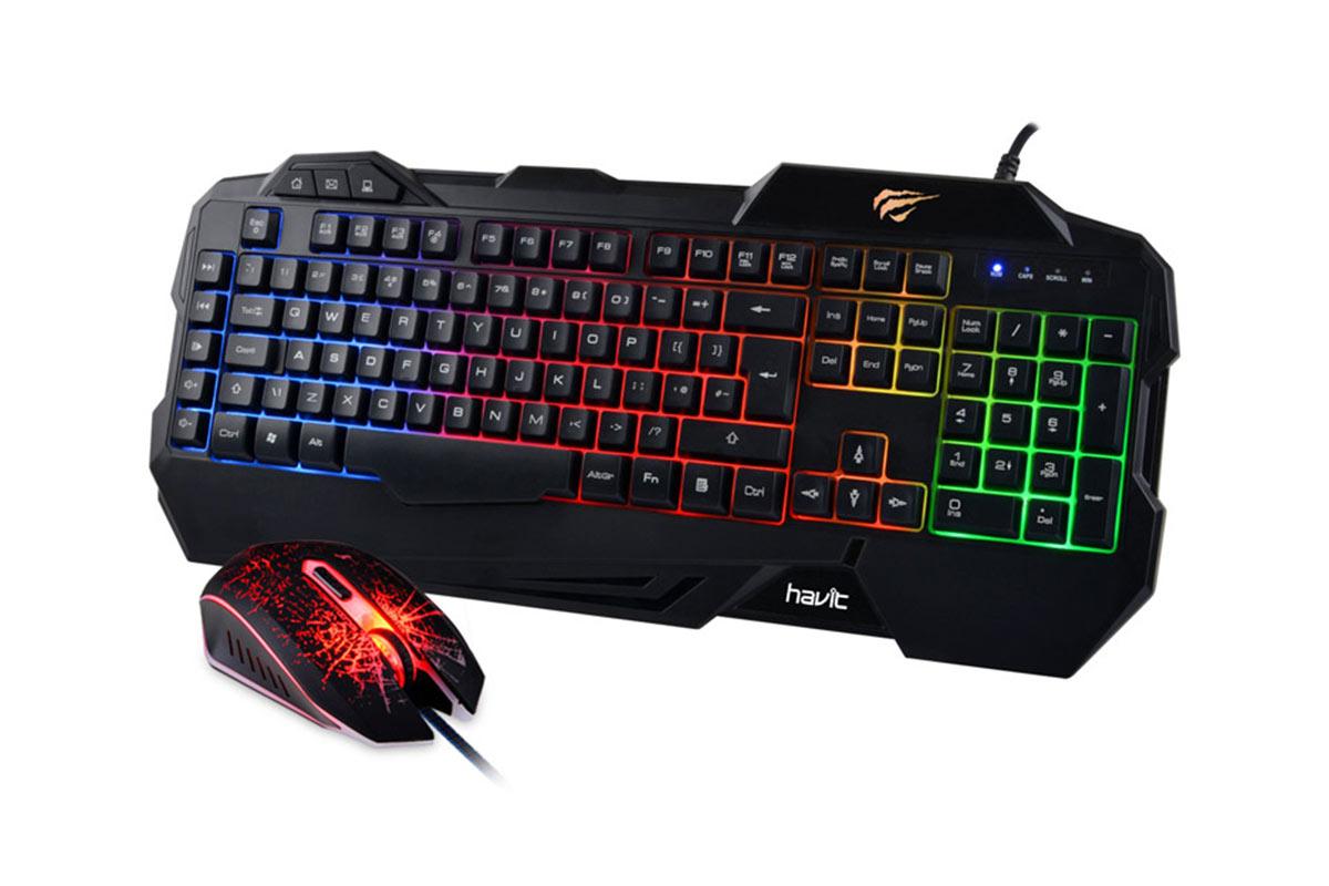 Havit Keyboard Rainbow Backlit Wired Gaming Keyboard Mouse Combo