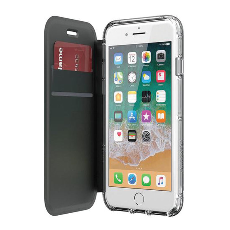 Griffin Survivor Clear Wallet Case for iPhone 8, 7, 6 - Black/Clear