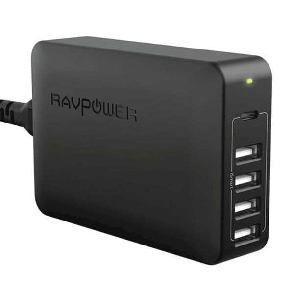 RAVPower 60W USB-C + USB 5 Port Mains Charger - Black