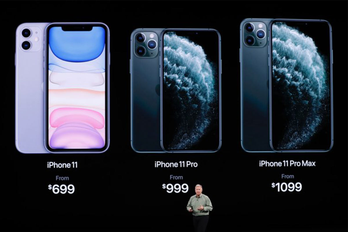 iPhone 11, iPhone 11 Pro, iPhone 11 Pro Max on screen at Apple's Event 2019 | Photo: Business Insider