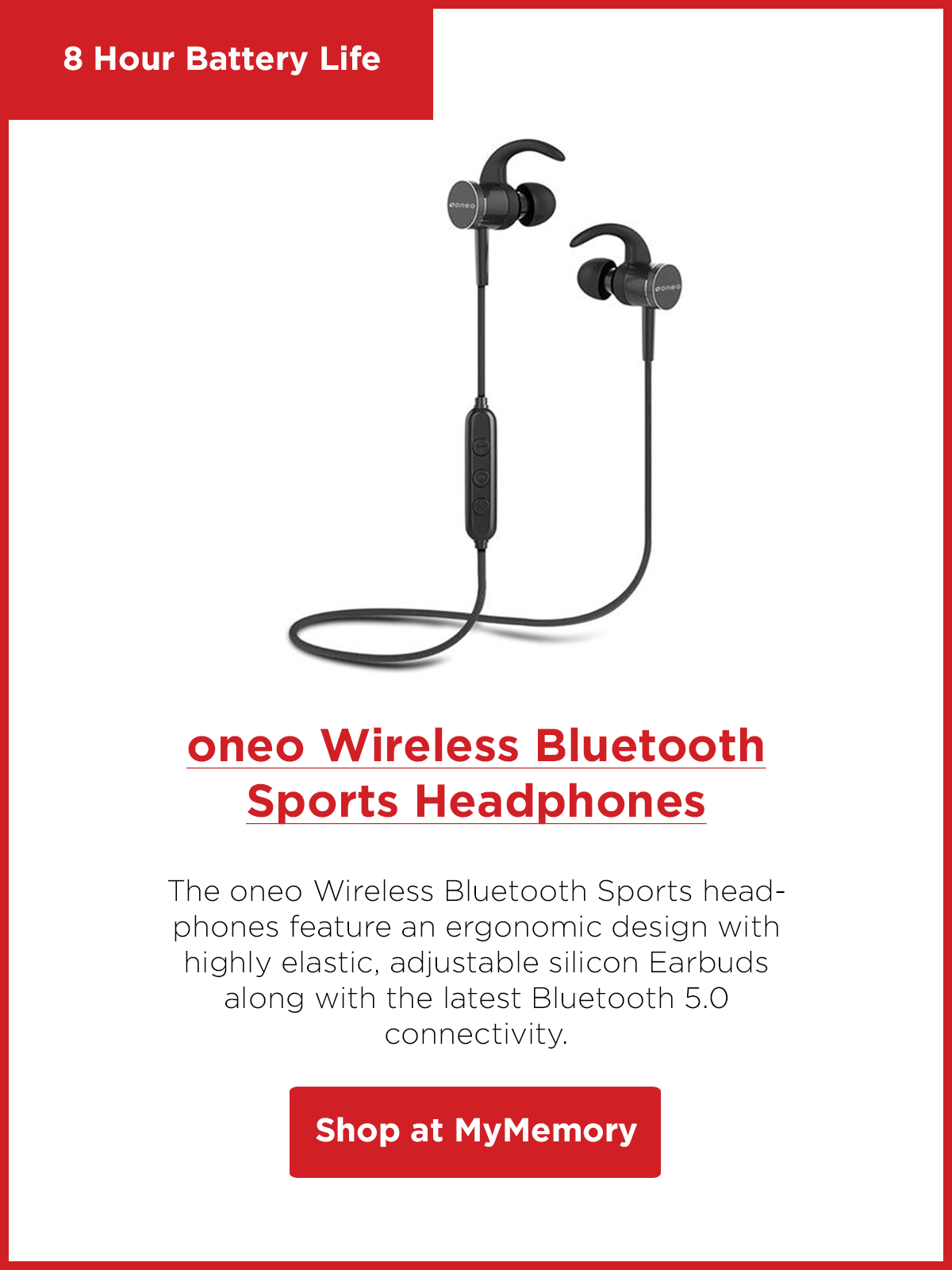 oneo Wireless Bluetooth Sports Headphones - Black