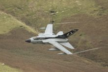 Low flying Tornado through the Mach Loop with autumnal colours