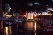 Polperro Harbour at night